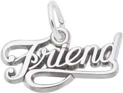 Friend Script Charm (Choose Metal) by Rembrandt