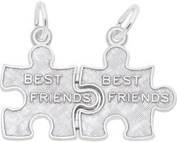 Best Friend Puzzle Pieces Charm (Choose Metal) by Rembrandt