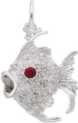Angelfish Charm w/ Pink Synthetic Crystal (Choose Metal) by Rembrandt