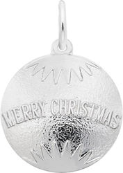 Merry Christmas Bulb Ornament Charm (Choose Metal) by Rembrandt