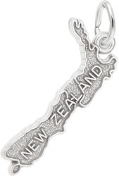 New Zealand Map Charm (Choose Metal) by Rembrandt