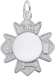 Fire Department Badge Charm (Choose Metal) by Rembrandt