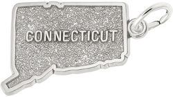 Connecticut Map Charm (Choose Metal) by Rembrandt