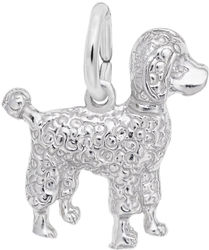 Small Poodle Dog Charm (Choose Metal) by Rembrandt