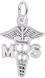 Medical Secretary Caduceus Charm (Choose Metal) by Rembrandt