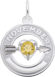 Synthetic Crystal Simulated Birthstone Charms Collection - November (Choose Metal) by Rembrandt