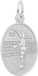 Volleyball Player Oval Charm (Choose Metal) by Rembrandt
