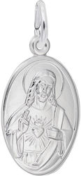 Sacred Heart Oval Charm (Choose Metal) by Rembrandt