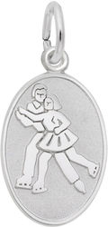 Ice Skaters Oval Charm (Choose Metal) by Rembrandt