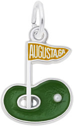 Augusta Golf Green Charm w/ Green & Orange Enamel (Choose Metal) by Rembrandt