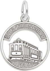 Flat San Francisco Cable Car Open Disc Charm (Choose Metal) by Rembrandt