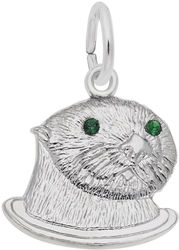 Sea Otter w/ Green Synthetic Crystals (Choose Metal) by Rembrandt