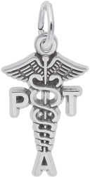 Physical Therapist Assistant Caduceus Charm (Choose Metal) by Rembrandt