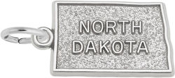North Dakota Map Charm (Choose Metal) by Rembrandt