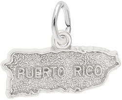 Puerto Rico Map Charm (Choose Metal) by Rembrandt