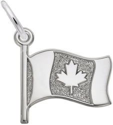 Waving Canadian Flag Charm (Choose Metal) by Rembrandt
