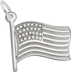 Waving American Flag Charm (Choose Metal) by Rembrandt