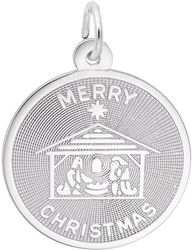 Merry Christmas Nativity Charm (Choose Metal) by Rembrandt