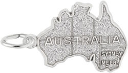 Australia Map Charm (Choose Metal) by Rembrandt
