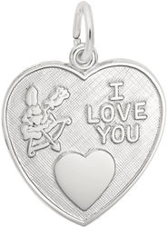 Cupid I Love You Heart Charm (Choose Metal) by Rembrandt