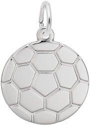 Flat Soccer Ball Charm (Choose Metal) by Rembrandt