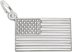 USA American Flag Charm (Choose Metal) by Rembrandt