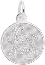 Small Happy Birthday Charm (Choose Metal) by Rembrandt