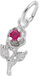 Rose Charm w/ Pink Synthetic Crystal (Choose Metal) by Rembrandt
