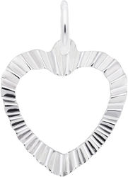 Ruffled Heart Charm (Choose Metal) by Rembrandt