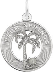 Palm Springs Charm w/ Simulated Pearl (Choose Metal) by Rembrandt