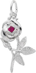 Rose Charm w/ Purple Synthetic Crystal (Choose Metal) by Rembrandt