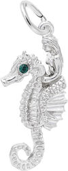 Under The Sea Friends Mermaid & Seahorse Charm w/ Green Synthetic Crystal (Choose Metal) by Rembrandt