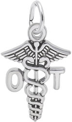 Occupational Therapist Caduceus Charm (Choose Metal) by Rembrandt