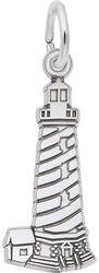Cape Hatteras, NC Flat Lighthouse Charm (Choose Metal) by Rembrandt