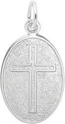 Cross Oval Charm (Choose Metal) by Rembrandt