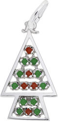 Beaded Christmas Tree Charm w/ Red & Green Beads (Choose Metal) by Rembrandt