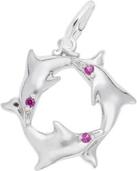Dolphin Ring Charm w/ Purple Synthetic Crystals (Choose Metal) by Rembrandt