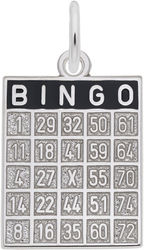 Bingo Card Charm w/ Black Enamel (Choose Metal) by Rembrandt