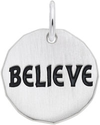 Black Enamel Believe Charm Tag Charm (Choose Metal) by Rembrandt