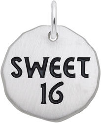 Black Enamel Sweet 16 Charm Tag Charm (Choose Metal) by Rembrandt