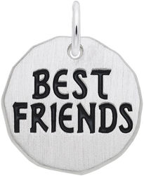 Black Enamel Best Friends Charm Tag Charm (Choose Metal) by Rembrandt