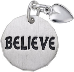 Believe Tag w/ Heart Charm (Choose Metal) by Rembrandt
