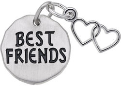Best Friends Tag w/ Heart Charm (Choose Metal) by Rembrandt