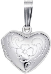 Floral Heart Locket Charm (Choose Metal) by Rembrandt