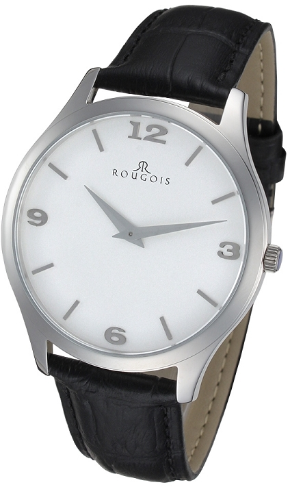 Rougois Gentry Series Stainless Steel Watch with Black Leather Band