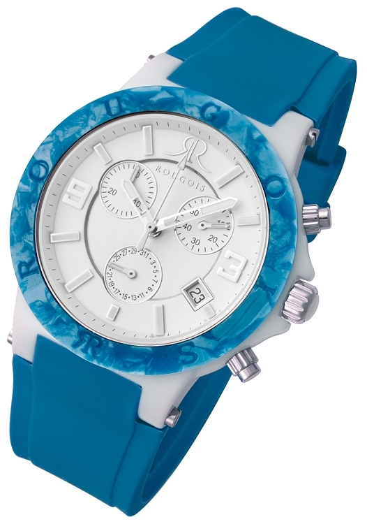 Rougois Pop Series Colorful Blue Silicone Band Chronograph Watch