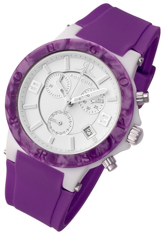 Rougois Pop Series Colorful Purple Silicone Band Chronograph Watch
