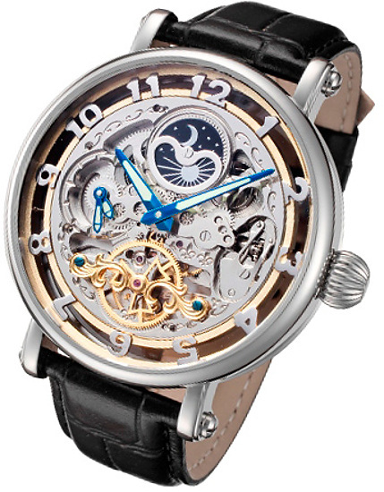 Rougois Big Skeleton Automatic Dual Time Moon Phase Watch