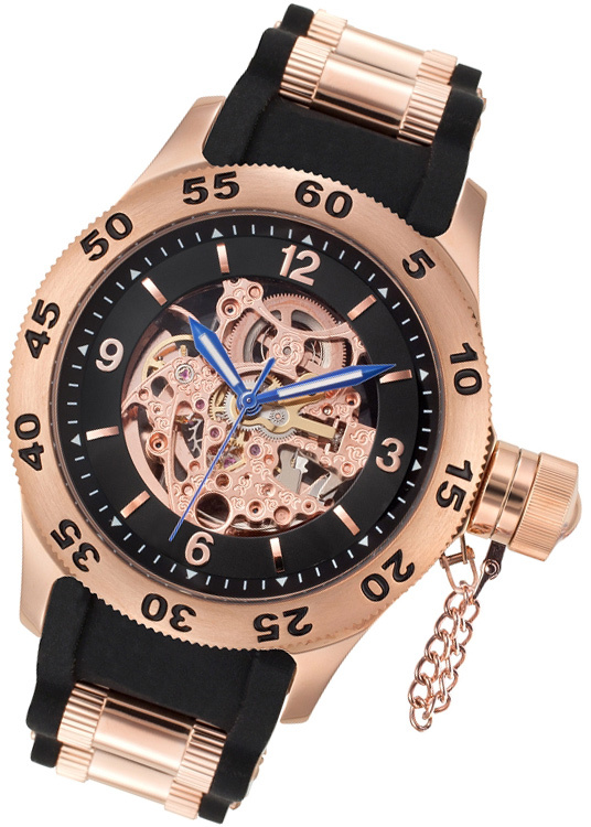 Rougois Rose Gold Automatic Skeleton Naval Diver Watch