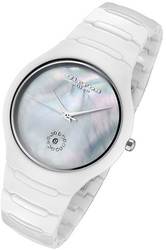Rougois Cirros Milan Luxury Unisex White Ceramic Watch with Crystals and a Mother of Pearl Dial 2376GW
